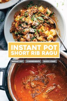 Instant Pot Short Rib Ragu! Ready in an hour. AMAZING on gnocchi, pasta, polenta, rice, potatoes, and more. #instantpot #ragu #shortribragu #shortribs | pinchofyum.com