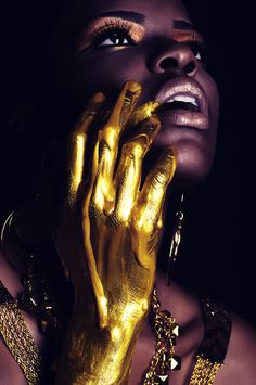 art fashion concept photography mixed media gold model