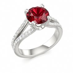 Solitaire Engagement Ring MADONNA at Colors of Eden #ruby #engagement #ring
