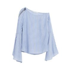 Zara Striped Flare Sleeve One-Shoulder Top