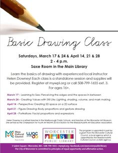Ages 16+ are welcome to join us for our Basic Drawing Class series! This program is supported in part by a grant from the Worcester Cultural Council, a local agency which is supported by the Massachusetts Cultural Council, a state agency.