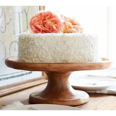 Pottery Barn Vintage Wood Carved Cake Stand ($59) ❤ liked on Polyvore featuring home, kitchen & dining, serveware, food, coral, pottery barn, pedestal platter, pedestal cake stands, pedestal plate e pedestal cake plate