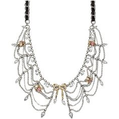 Betsey Johnson Enchanted Bow Spider Crystal Collar ($105) ❤ liked on Polyvore featuring jewelry, necklaces, accessories, betsey johnson, pink, pink ribbon jewelry, ribbon chain necklace, long necklace, betsey johnson jewelry と long chain necklace