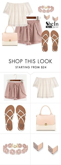 """Drawstring Shorts"" by jamink ❤ liked on Polyvore featuring H&M, Billabong, BaubleBar, FOSSIL and shein"