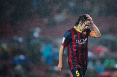Carles Puyol of FC Barcelona reacts during the Copa del Rey Quarter Final leg match between FC Barcelona and Levante U.D Camp Nou on January 2014 in Barcelona, Spain. Get premium, high resolution news photos at Getty Images Fc Barcelona, David Ramos, Messi And Neymar, Best Football Team, Camp Nou, Real Madrid, Soccer, Sports, Mens Tops