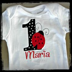 Maria the Ladybug First Birthday Personalized Boutique Shirt or Baby Onesie ... Custom Colors