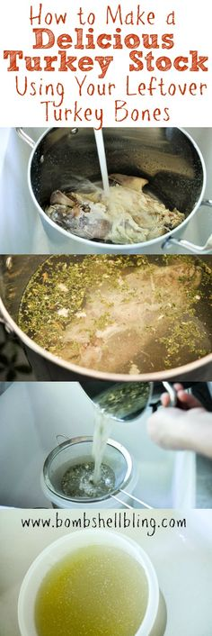 How to Make a Delicious Turkey Stock Using Your Leftover Turkey Bones- suck a great idea! How to Make a Delicious Turkey Stock Using Your Leftover Turkey Bones- suck a great idea! Thanksgiving Recipes, Fall Recipes, Holiday Recipes, Soup Recipes, Cooking Recipes, Thanksgiving Turkey, Holiday Meals, Christmas Turkey, Holiday Dinner