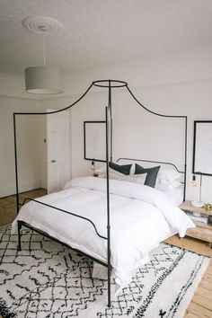 Black Powder Metal Four Poster Bed From The White Company - Calming Bedroom In A Characterful Edwardian Semi Detached Property Home, Victorian Bedroom, Neutral Bedroom Decor, Calming Bedroom, Neutral Bedroom Design, Bedding Master Bedroom, Bedroom Inspirations, White Company Bedroom, Edwardian House