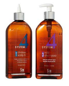 Hiuspohjaterapiaa 4-system-tuotteilla, 15,90 €. Uusi koko 500 ml. Norm. 24,90 €. Hairlekiini, E-taso.