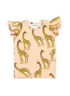 Mini Rodini Giraffe Wing Tee in Pink - 11 Main