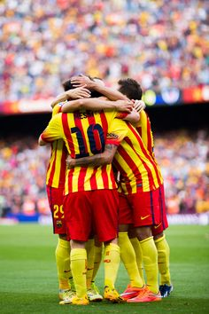 Players of FC Barcelona celebrate after their teammate Neymar Santos Jr scored his second team's goal during the La Liga match between FC Barcelona and Athletic Club at Camp Nou on September 13, 2014 in Barcelona, Catalonia.