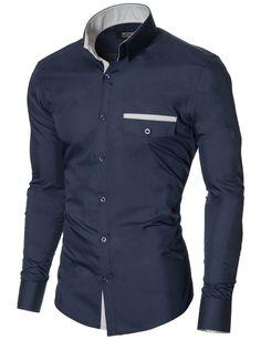 MODERNO Slim Fit Freizeit Herrenhemd (MOD1413LS) Dunkelblau