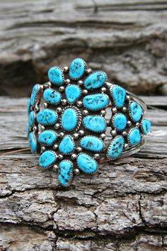 Cuff | Artist ? (Navajo).  Oxidized sterling silver and turquoise.