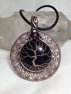 Black Onyx with Garnet Tree Of Life pendant with a black leather necklace