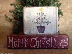 Primitive Country Tree Merry Christmas Xmas Holiday Shelf Sitter Wood Block Set  #PrimitiveChristmas