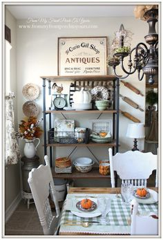 Bakers Rack-Farmhouse Style- Fall Kitchen--From My Front Porch To Yours (Halloween Signs Front Porches) Farmhouse Bakers Racks, Farmhouse Style Kitchen, Farmhouse Chic, Vintage Farmhouse, Country Farmhouse, Bakers Rack Kitchen, Farmhouse Shelving, Primitive Homes, Primitive Kitchen