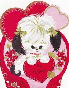 """1969 Eureka 'Puppy In Basket' Die Cut Decoration. Three Sizes: 6 3/4"""", 11"""", 16"""""""