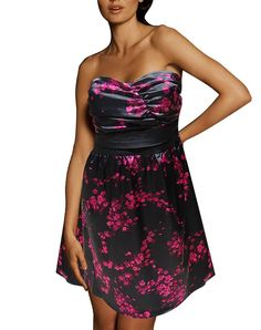 cc1c0176ded Amazon.com  Torrid Women s Plus Size Cherry Blossom Floral Satin Strapless Semi  Formal Dress (18)  Clothing