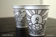 Sharpie cup art - Cheeming Boey : Artist