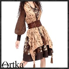 Cheap dress shirt top button, Buy Quality dress colors directly from China dress with buttons Suppliers: Artka Women's Handmade Chinese Frog Knots Perforated Puff Sleeve V-neck Cinched Waist One-Piece Dress Boho Outfits, Vintage Outfits, Cute Outfits, One Piece Dress, Dress Up, Mode Mori, Russian Fashion, Russian Style, Queer Fashion