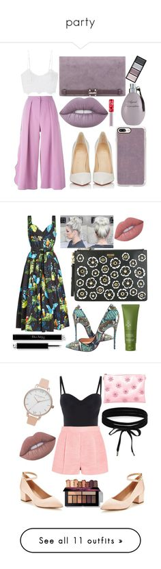 """""""party"""" by faesadanparkaia ❤ liked on Polyvore featuring Roksanda, Miguelina, Christian Louboutin, Nine West, Casetify, Lime Crime, Agent Provocateur, Clé de Peau Beauté, Marc Jacobs and Moschino"""