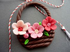 P1100335 Polymer Clay Crafts, Diy Clay, Polymer Clay Jewelry, Flower Embroidery Designs, Silk Ribbon Embroidery, Clay Art For Kids, Clay Wall Art, Cork Art, Art N Craft
