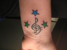 Wrist Tattoo- Stars Tattoo- Treble Clef Tattoo Tattoo Stars, Star Tattoos, Treble Clef Tattoo, Note Tattoo, Wrist Tattoo, Notes, Treble Tattoo, Report Cards, Notebook