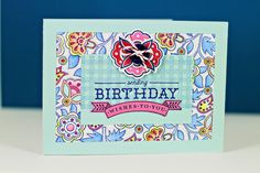 Folk Art Birthday Card by Erin Lincoln for Papertrey Ink (January 2013)