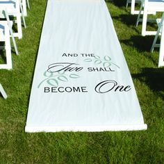 """This white """"Two Shall Become One"""" Aisle Runner adds a great accent to your indoor or outdoor wedding. Text comes in black on a white background. http://www.favorfavor.com/page/FF/PROD/HBH30045"""