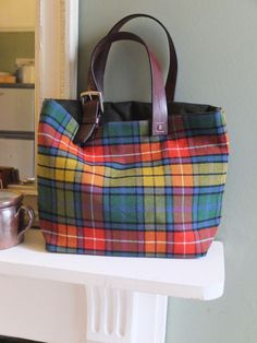 Buchanan Tartan Bag From Vintage Kilt Leather Handles Handmade In Devon