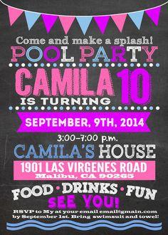 Printable-Pool-party-invitation-chalkboard girly design. Invite for girls, 5x7…