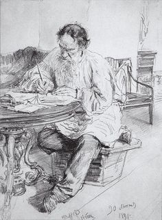 Leo Tolstoy Working At The Round Table by Russian Realism painter and sculptor  Ilya Repin, 1844 - 1930.  Completion Date: 1891.  Style: Realism.   Genre: portrait.