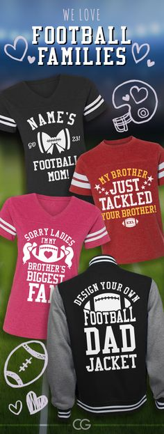 Custom football shirts for the whole family! #football #footballmom #footballgirlfriend