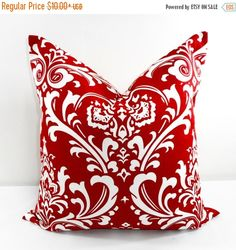 On Sale Red Pillow. Damask Red and white. by TwistedBobbinDesigns