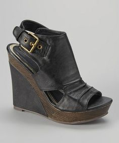 Another great find on #zulily! Black Hayaki Wedge Sandal by Bucco #zulilyfinds