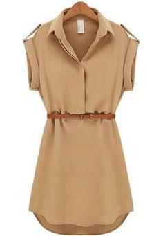Khaki Lapel Short Sleeve Loose Chiffon Dress