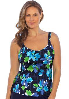 cda9f37712 Plus Size Beach Belle Indigo Island Flared Tankini Top Swimsuits 2016