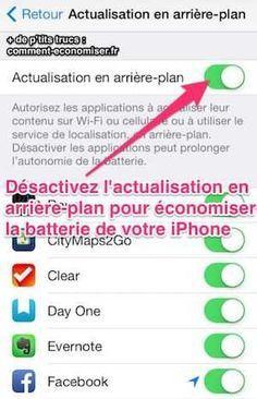 Désactiver l'actualisation en arrière plan pour économiser de la batterie iphone