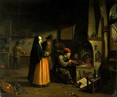 A lady visiting an alchemist in his laboratory. Oil painting attributed to Johan Josef Horemans the younger