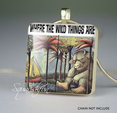 "Bookish jewelry - ""Where the Wild Things Are"" book scrabble tile pendant #WhereTheWildThingsAre #ChildrensLit"