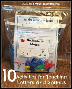 10 hands on activities for teaching letters and sound. Free assessment and letter flashcards.  Great for classroom volunteers or for parents who wish to work with their child at home.