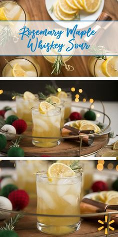 Rosemary Maple Whiskey Sour - Top a glass of bourbon, lemon juice, and maple syrup with a sprig of rosemary and a lemon slice. A simple holiday cocktail from Walmart, ready in 5 minutes.