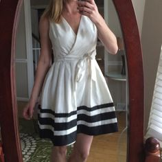 Deleting⚡️Adorable fancy dress Dress is clean and in EUC!  No stains!  Lined!  The sash needs to be cleaned, but it is not noticeable!  Retro look.  Petite 12 S.L. fashions Dresses