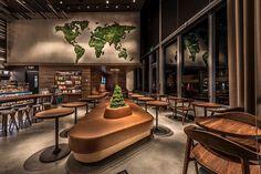 Retail Interior, Cafe Interior, Interior Walls, Interior Design, Starbucks Shop, Coffee House Cafe, Coffee Shop, Moss Wall Art, Cafeteria Design