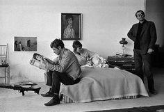 "Jean-Paul Belmondo, Anna Karina and Jean-Luc Godard on the set of ""Pierrot Le Fou"" (1965)"