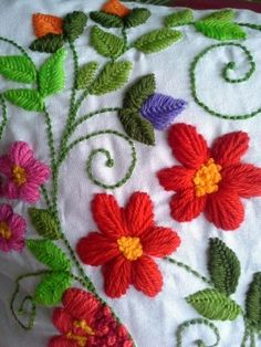 Pin by Yafit Rabenu on embroidery Mexican Embroidery, Crewel Embroidery Kits, Hungarian Embroidery, Brazilian Embroidery, Silk Ribbon Embroidery, Hand Embroidery Patterns, Floral Embroidery, Cross Stitch Embroidery, Needlework