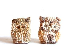 Pair of Vintage Sea Shell Owl Figures by aestheticallyantique, $20.00
