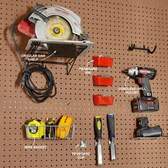 "Hang Anything Most hardware stores and home centers carry standard hooks for basic hand tools, but specialized hangers are available too. The circular saw shelf, cordless drill holder, wire basket, bins and other doodads can help organize hard-to-hang tools. Search online for ""pegboard"" followed by the type of hanger you're looking for, such as ""pegboard circular saw shelf."""