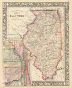 1860 County Map of the State of Illinois