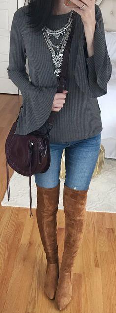 #spring #fashion /  Grey Knit / Bleached Skinny Jeans / Brown Velvet OTK Boots